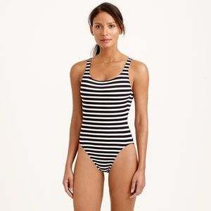 J. Crew Scoopback Swimsuit Navy/White Stripe SZ 14